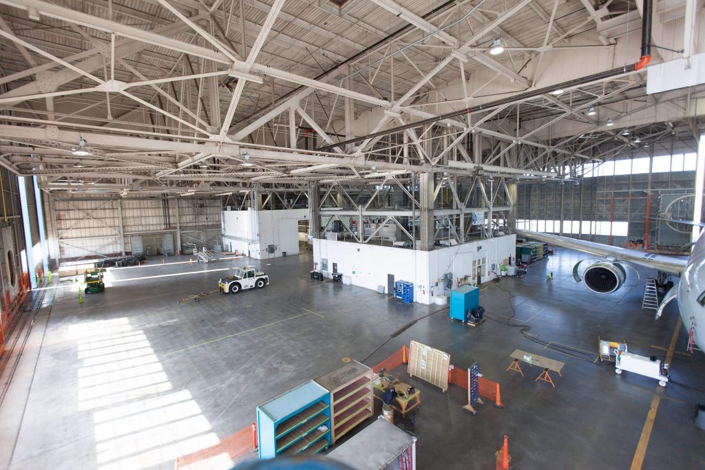 Moses Lake, WA inside of hangar
